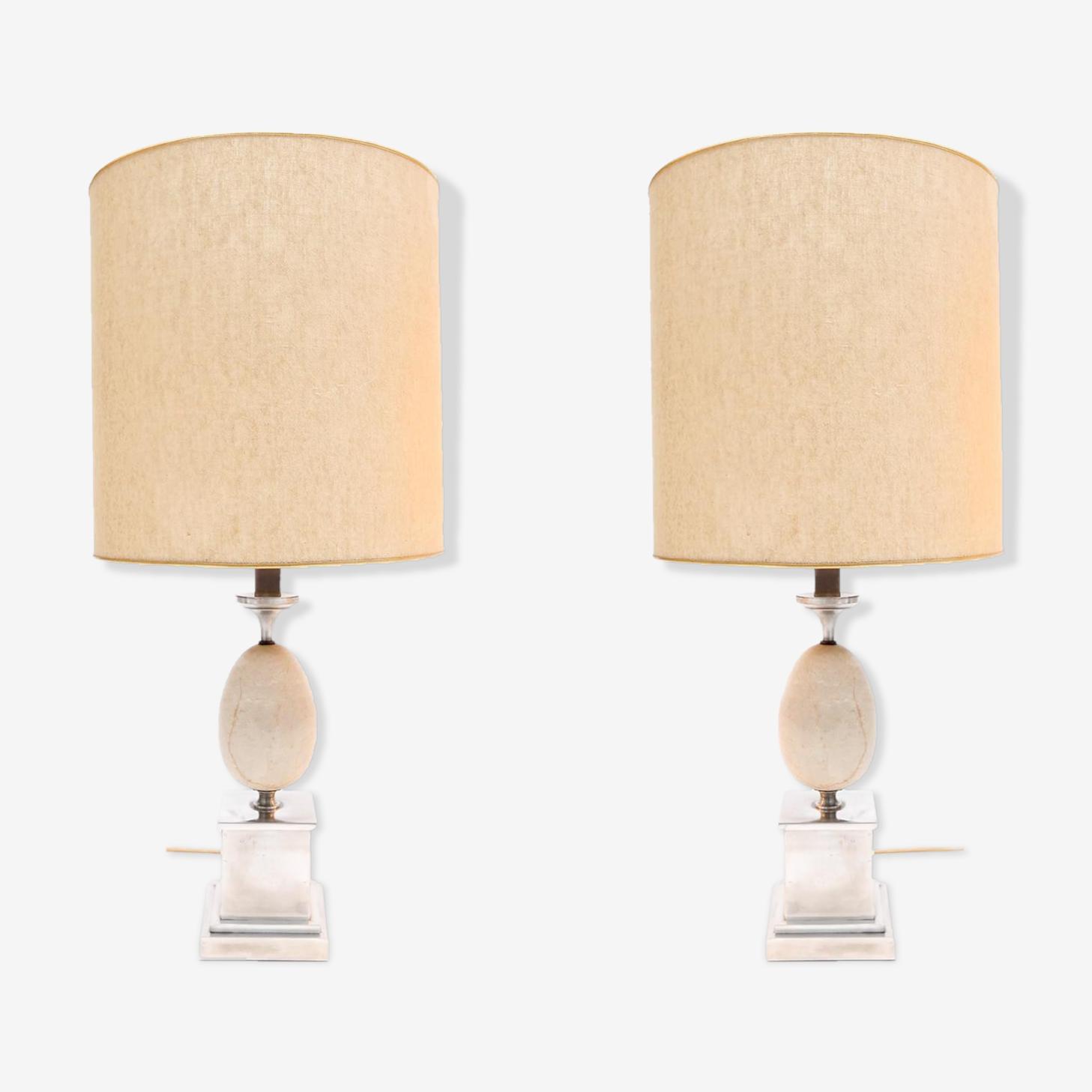 Set de 2 lampes de bureau par Maison Barbier 1970s
