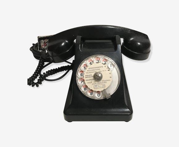 ancien telephone bakelite noir cadran transparent ann es 40 50 vintage bak lite noir. Black Bedroom Furniture Sets. Home Design Ideas