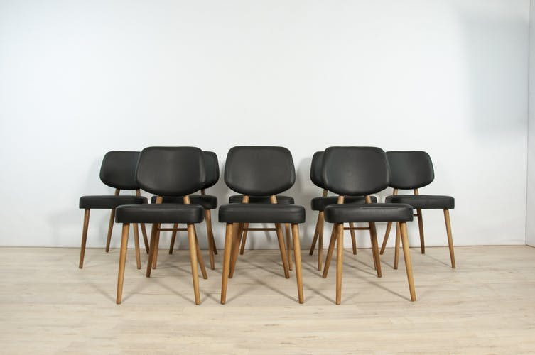 Leather dining chairs , 1970