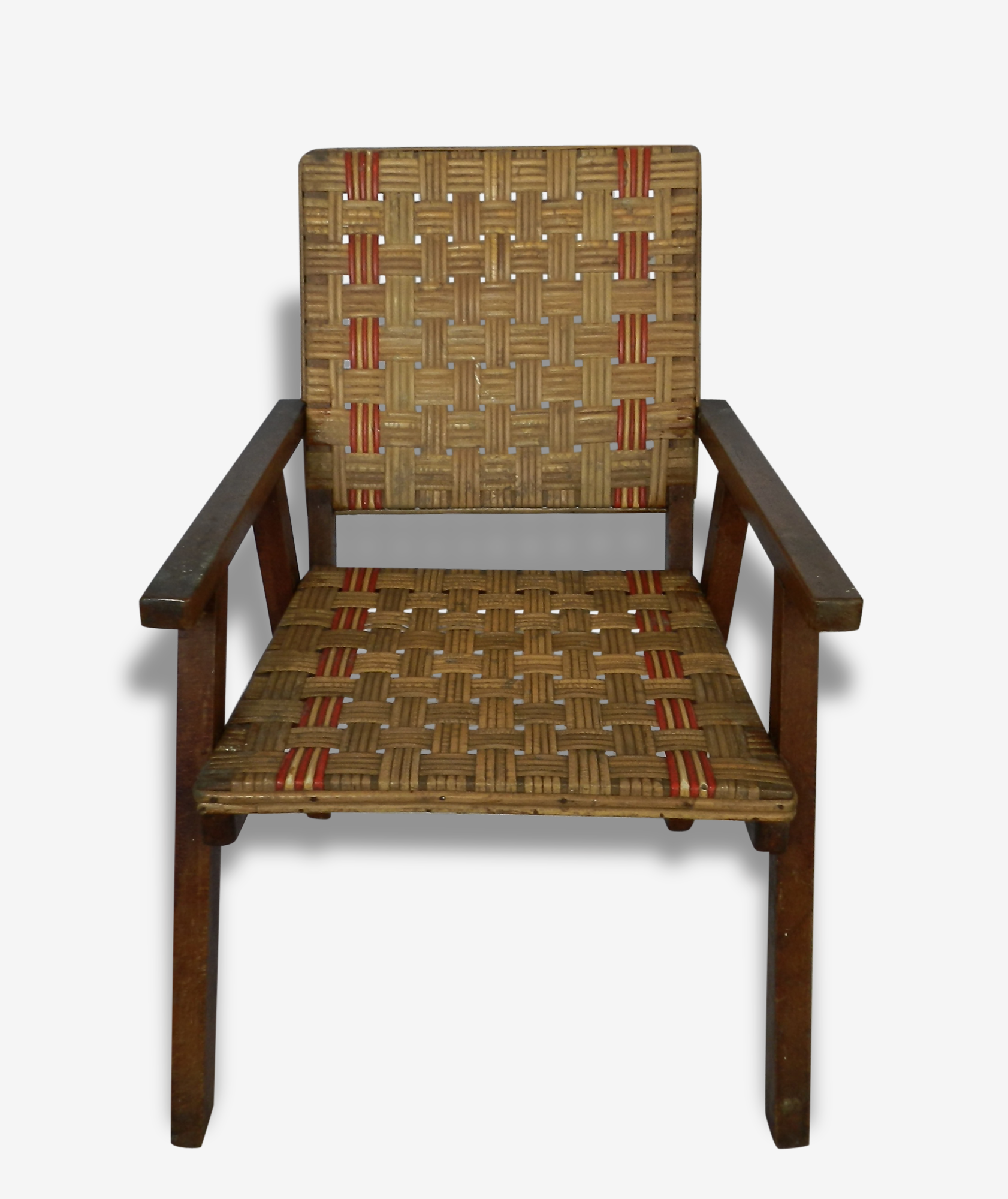 Fauteuil vintage et original bois et rotin naturel et rouge