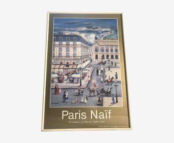 Ancienne affiche Paris naïf de Bin Kashiwa place de l'Opera avec cadre