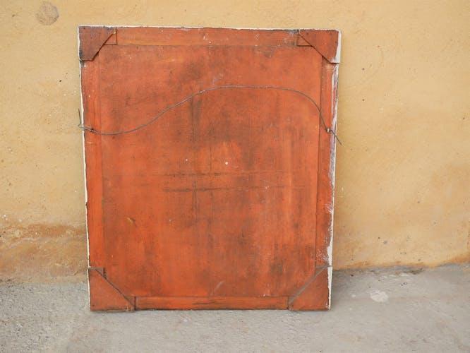 Tableau, peinture sur bois vintage par J.Francès