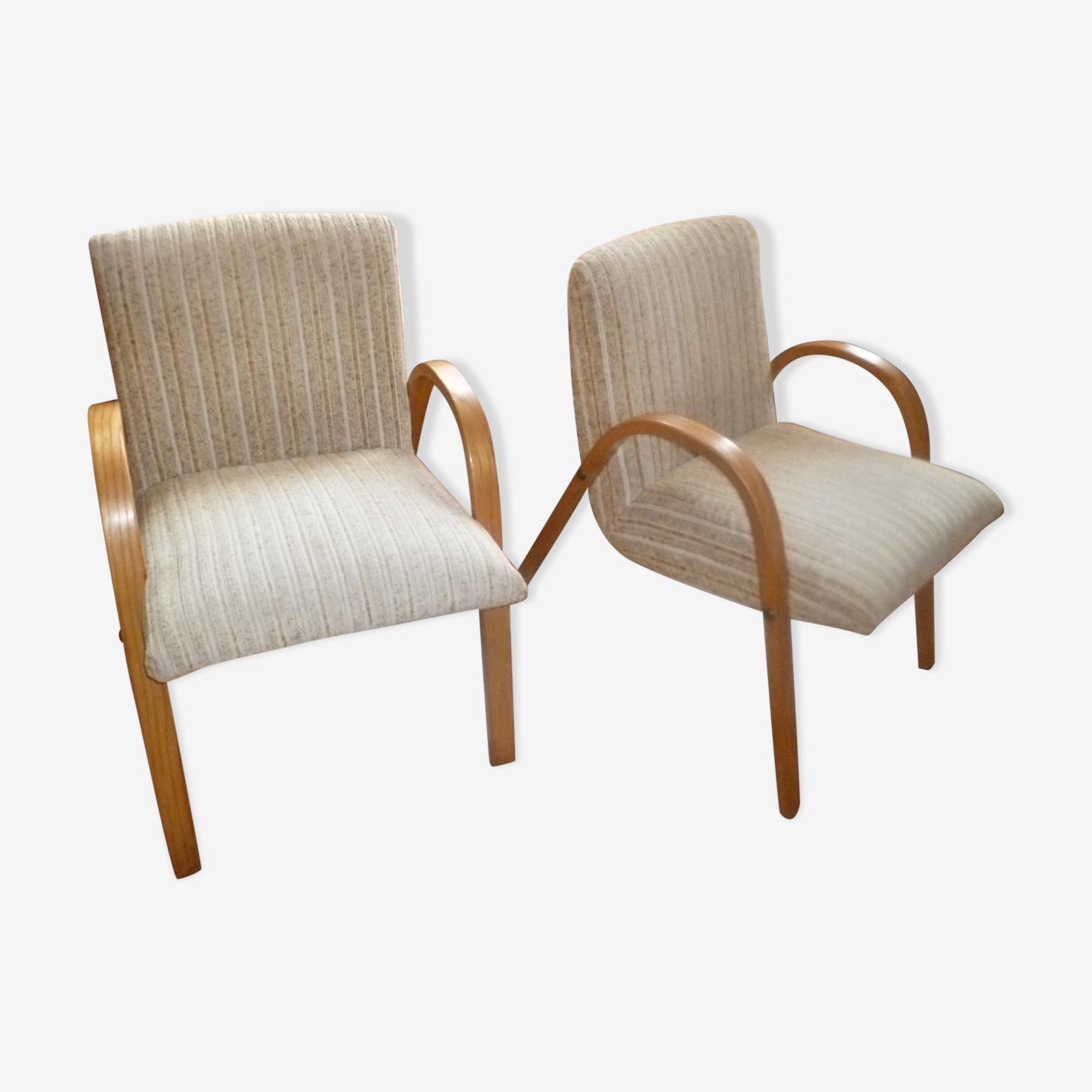 Lot de 2 fauteuil style bow wood  steiner vintage