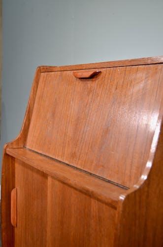 Midcentury bureau desk cabinet in teak vintage modern