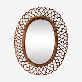 Miroir en rotin oval 80cmx65cm