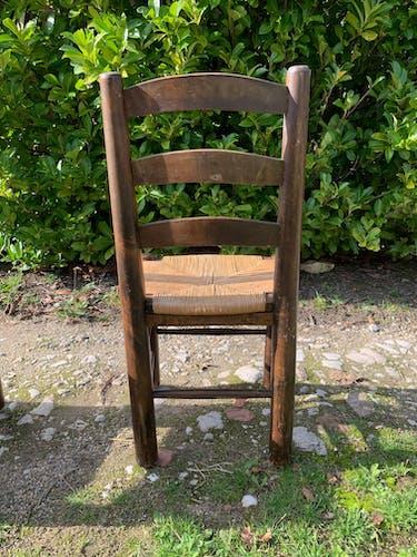 Lot de 6 chaises vintage de ferme en paille