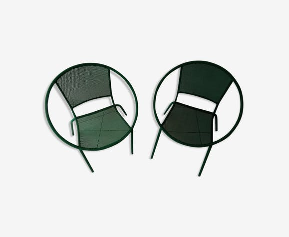 Paire de fauteuils demi lune de jardin années 80 design ...