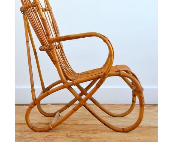 Fauteuil en rotin et bambou par Dirk van Sliedregt pour Rohe Noordwolde, 1950