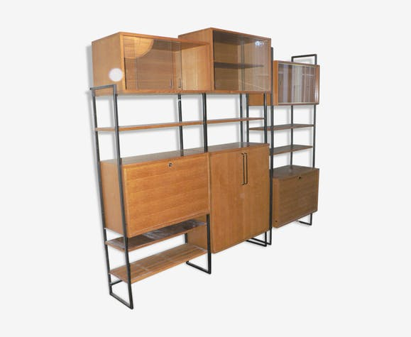 Étagères modulables chêne 1950 - bois (Matériau) - bois (Couleur ... cef12a521036