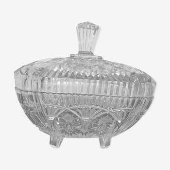 Bonbonnière sucrier ou drageoir ancien en verre moulé années 50/60