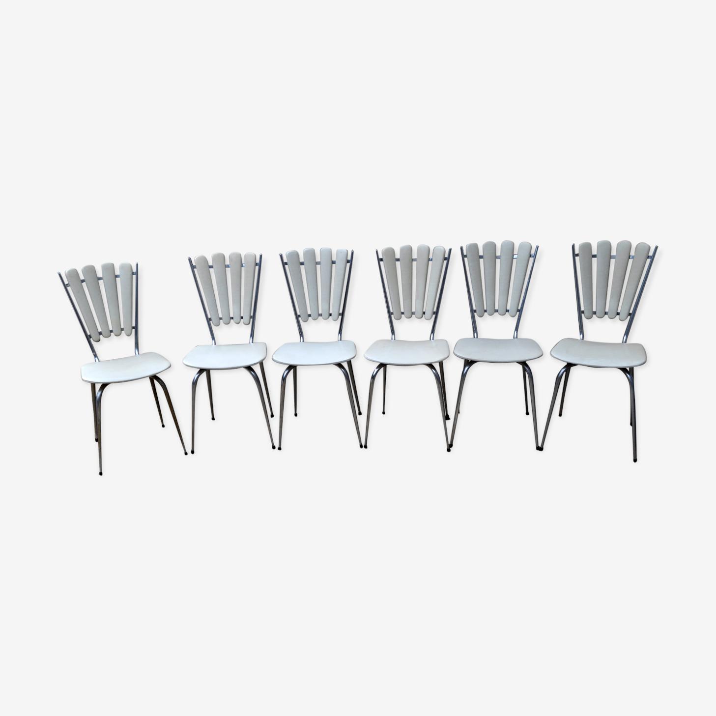 """Ensemble de 6 chaises """"pétales"""" chrome et skaï"""