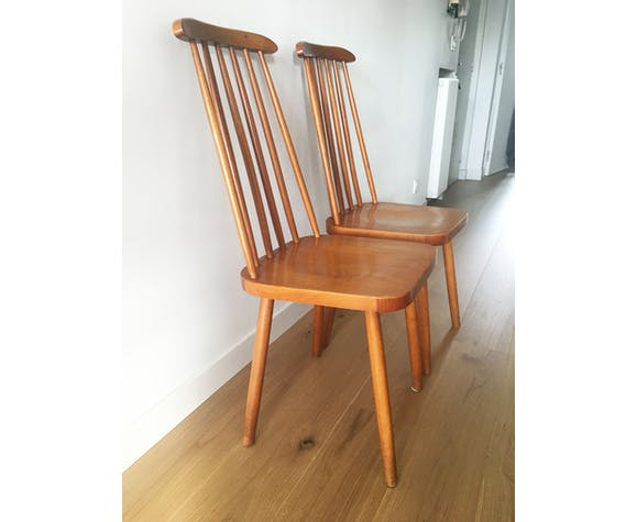 Paire de chaises scandinave à barreaux 1960