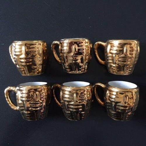 Lot de 6 mini mugs en porcelaine dorée