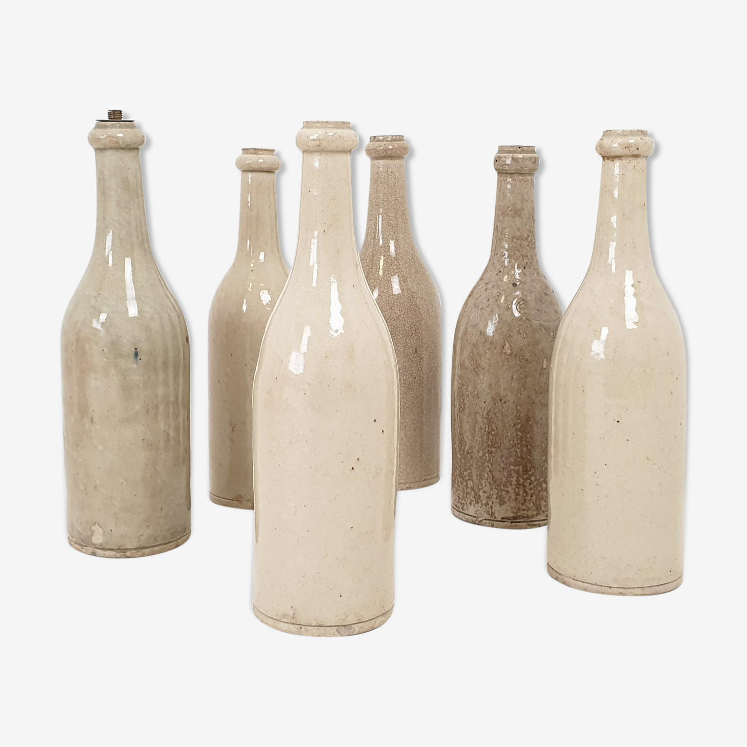 Set of 6 bottles in sandstone