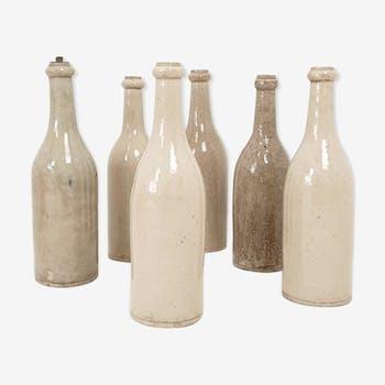 Set of 6 bottles in sandstone