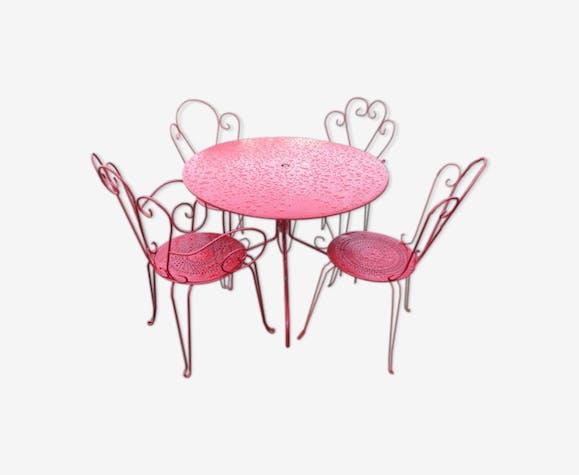 Salon de jardin - métal - rouge - classique - o8sAxL4