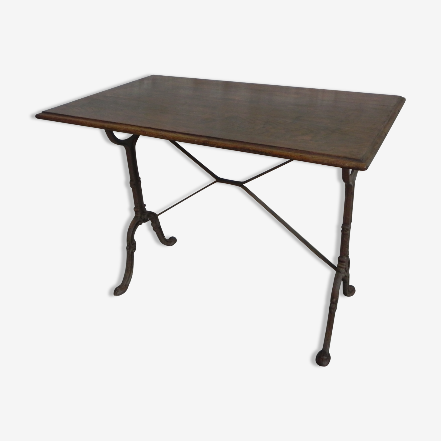Bistro table with oak top and cast iron base