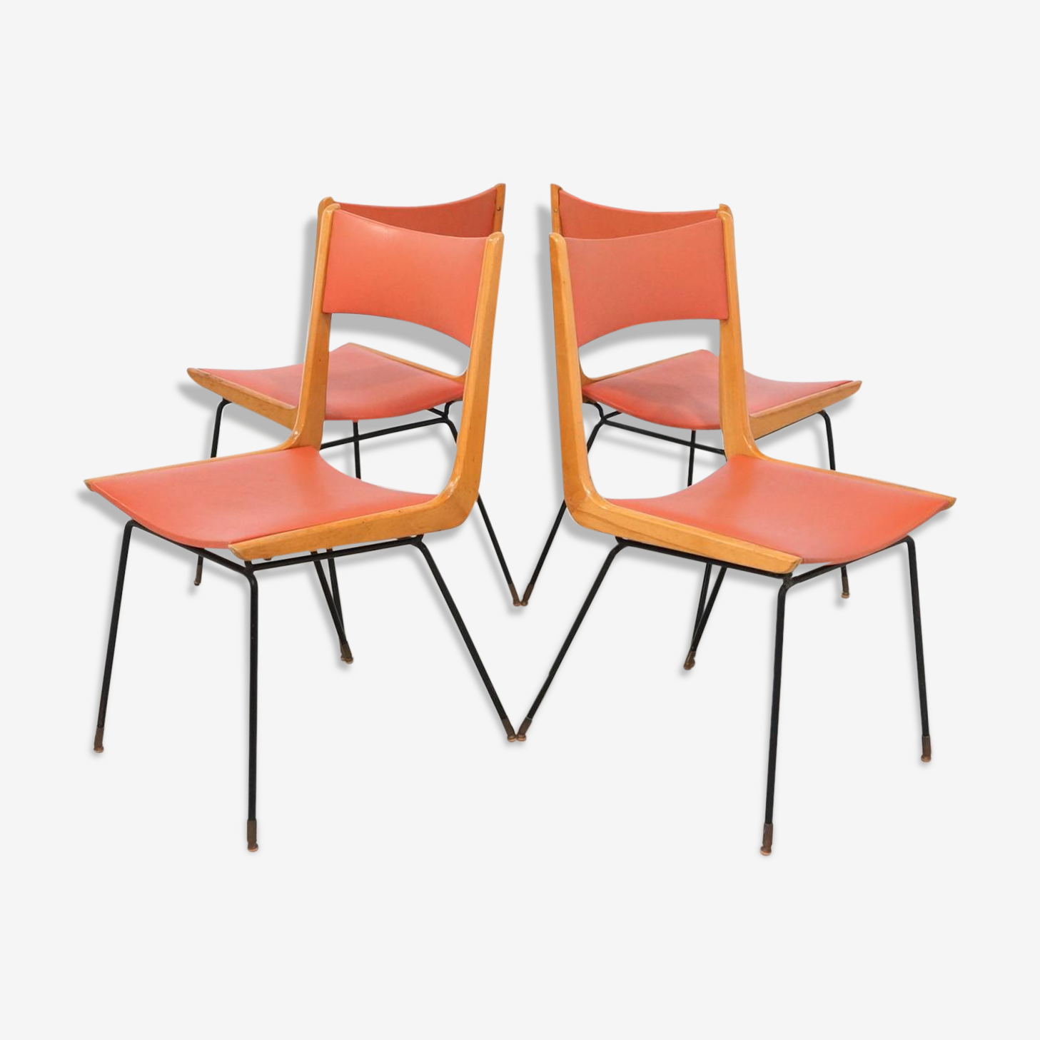 Set of 4 chairs boomerang by Carlo Ratti Italy 1950 s