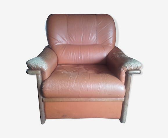 Fauteuil en cuir très confortable - cuir - marron - vintage - nkZmmEr