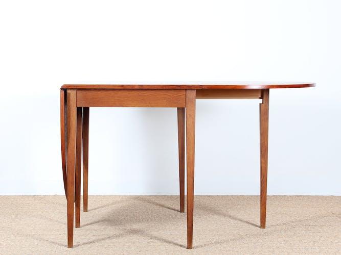 Table scandinave à  rabats en teck et chêne 2 à 6 personnes