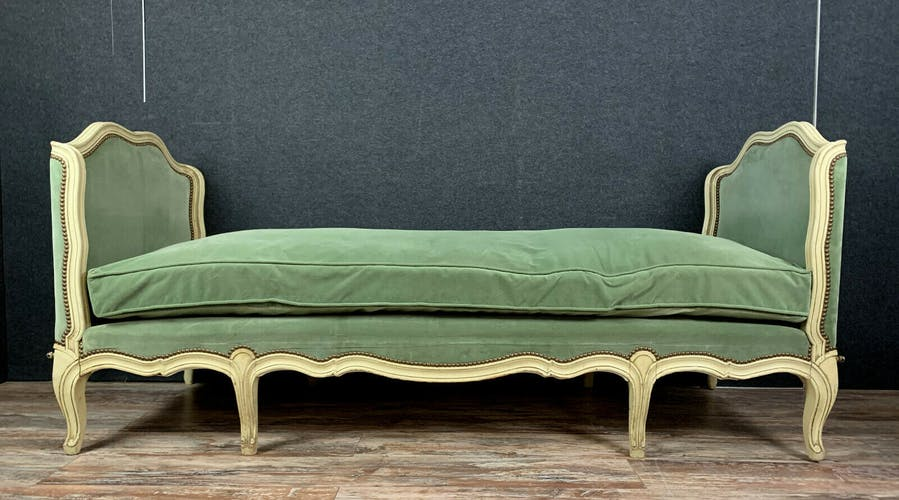 Lit de repos Louis XV en bois laqué