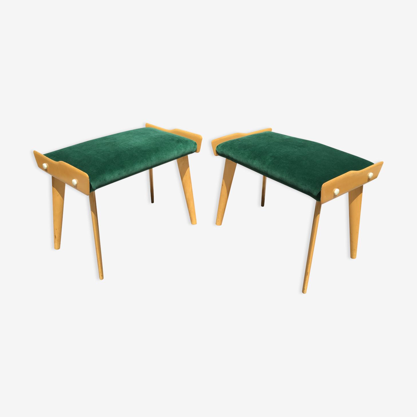 Paire de tabourets en velours vert