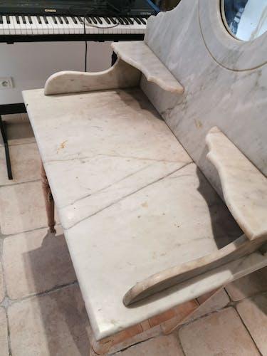Coiffeuse bois et marbre blanc