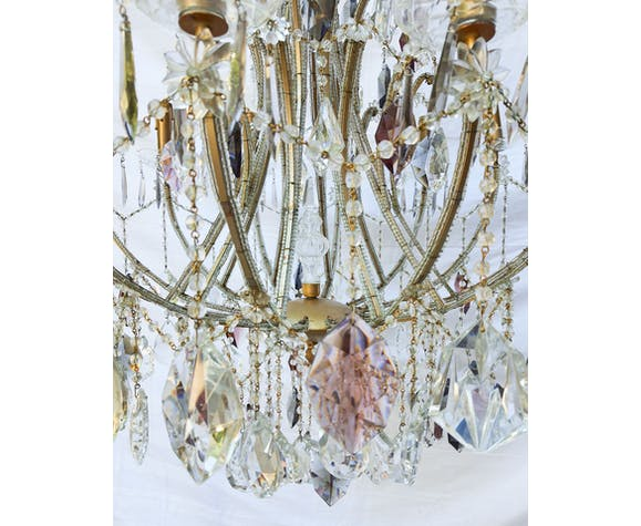 Lustre à pampilles en cristal 12 éclairages 120cm