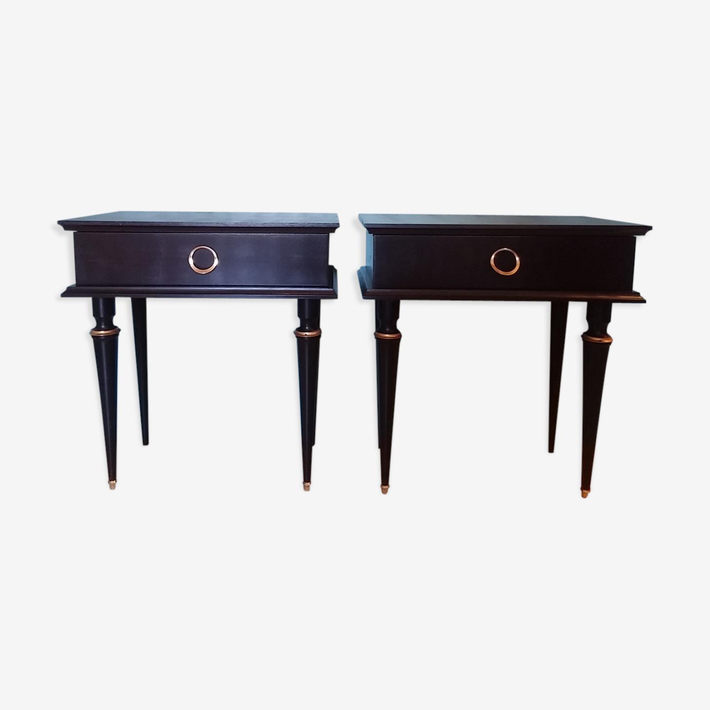 Paire de tables de nuit vintage noir et doré