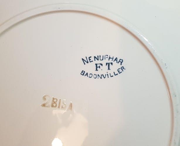 6 assiettes plates en faïence de Badonviller modèle Nénuphar  en terre de fer