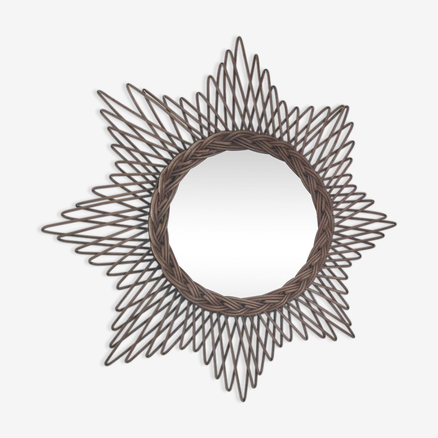Miroir rotin, 46 cm