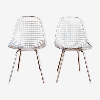 Paire de chaises DKX acier chromé par Charles & Ray Eames pour Herman Miller, 1950