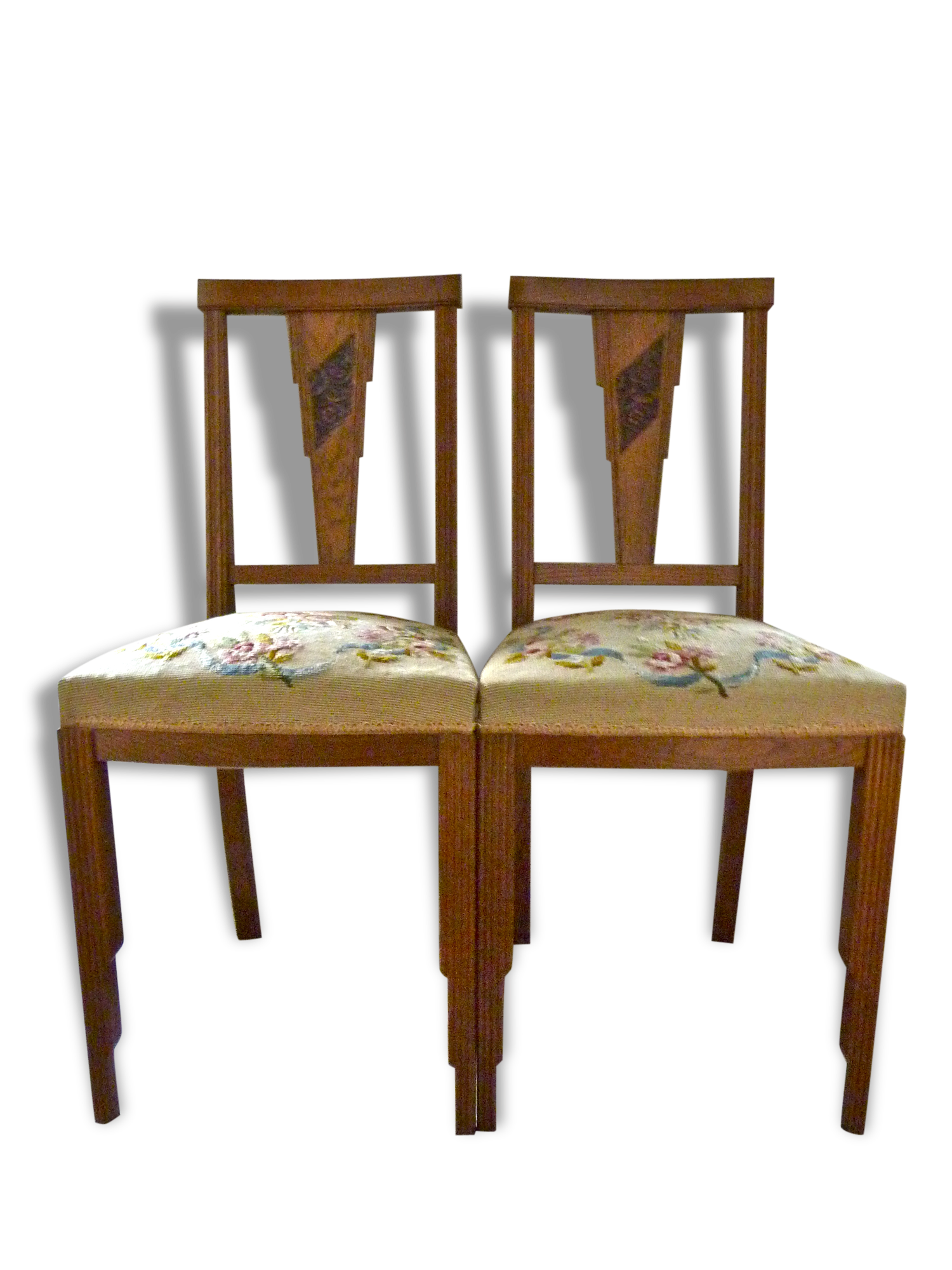 Pair Of Art Deco Chairs, Tapestry Seat