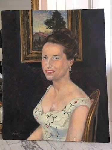 Portrait à l'huile 20ème