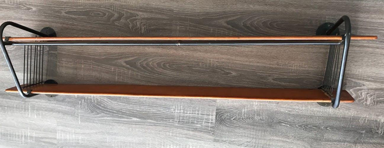 Étagère en teck et métal scandinave