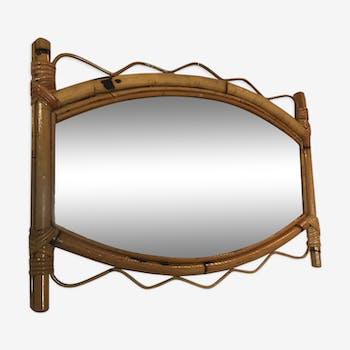 Bamboo and rattan mirror 44x64cm