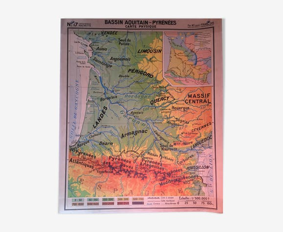 Vintage school map Aquitain Basin and Pyrenees