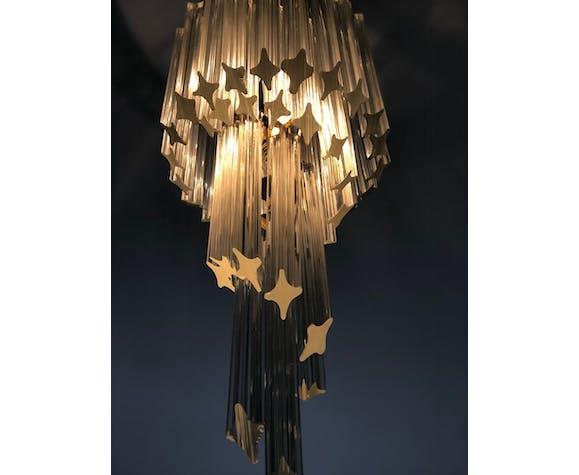 Murano Italy 1960s glass spiral pendant lamp