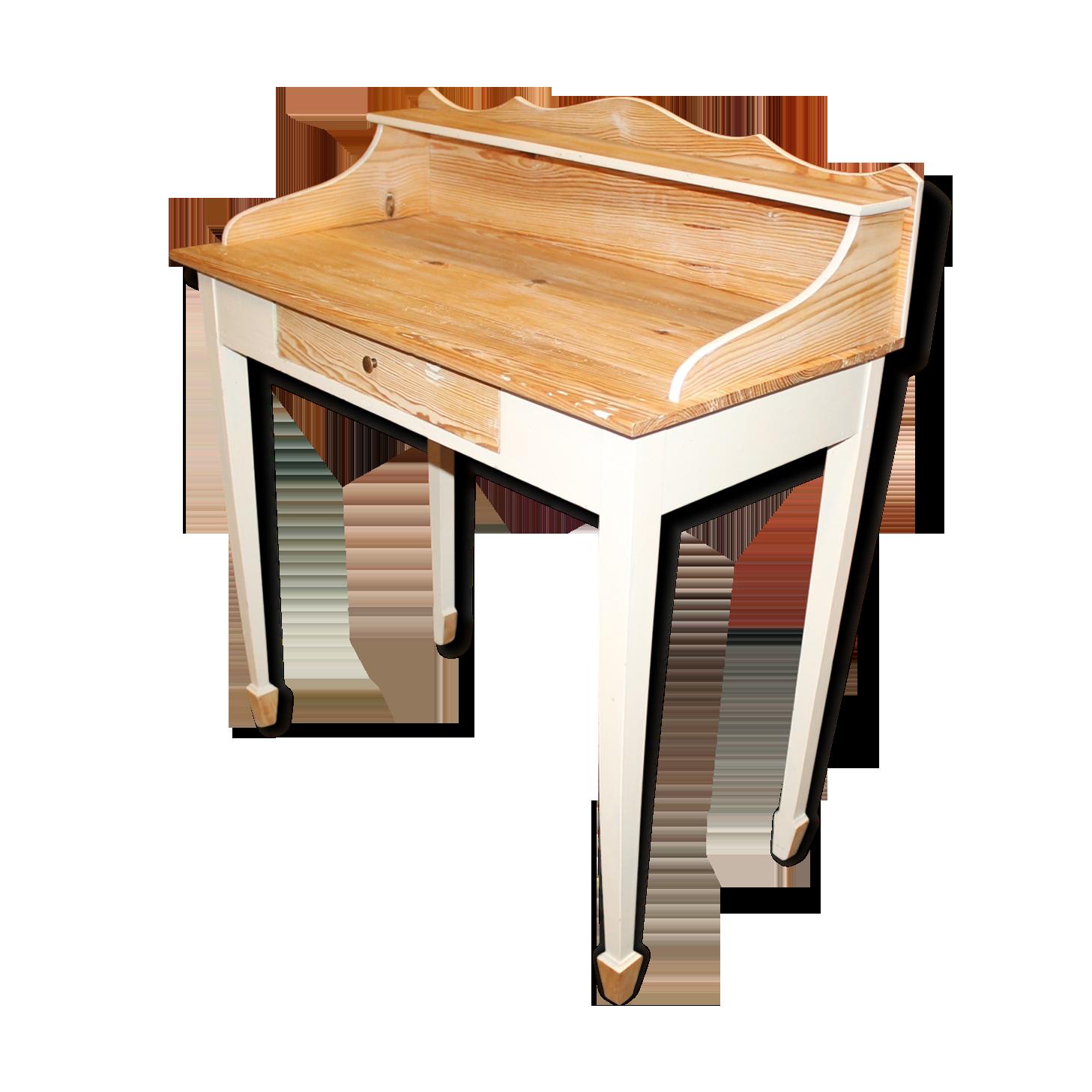 Bureau rustique patiné bois matériau blanc classique kidhyy