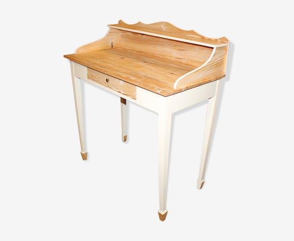 Bureau rustique patiné bois matériau blanc classique kidhyy2