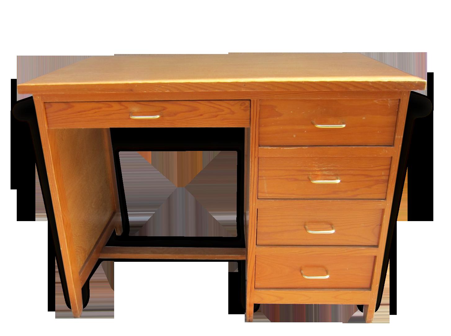 Bureau d adolescent vintage bois matériau marron