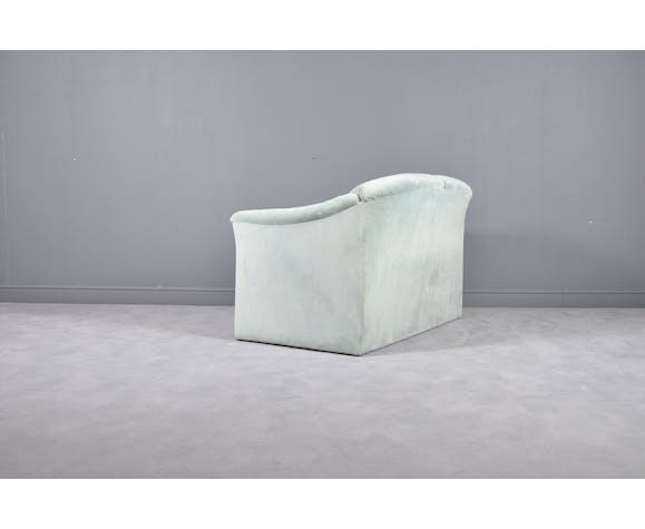 Green mint velvet loveseat by Walter Knoll, 1980