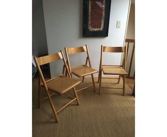 Lot de 3 chaises pliantes cannées vintage
