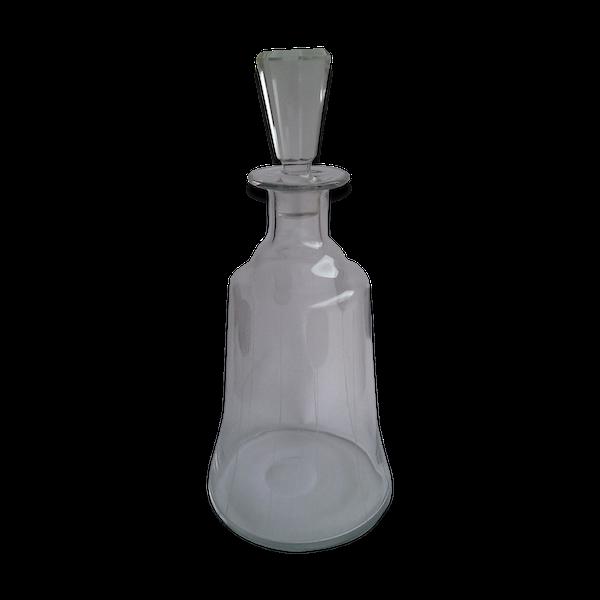 Carafe cristal conique gravée de rayures
