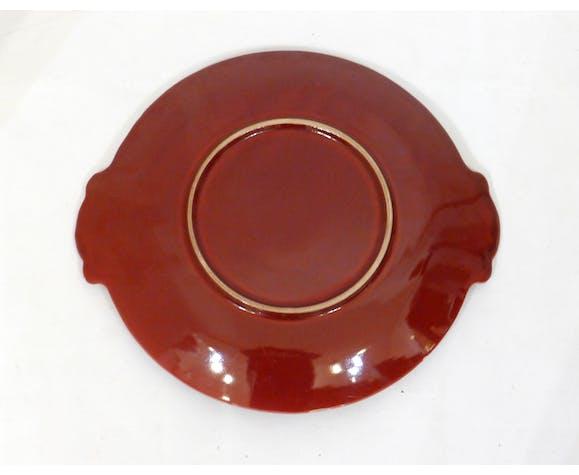 Plat rouge bordeaux & doré 1940/1950