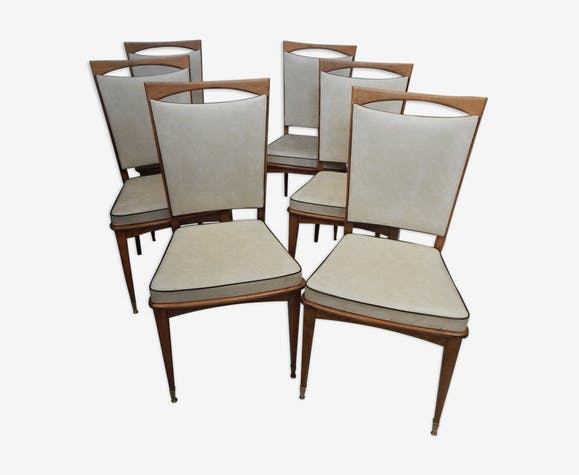 Set De 6 Chaises Blanches Vintage Annees 40 50 Bois Materiau