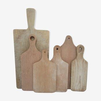 Six planches à découper bois massif vintage