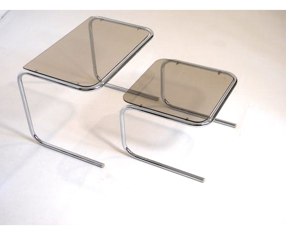 Two tables gigognes glass and chrome