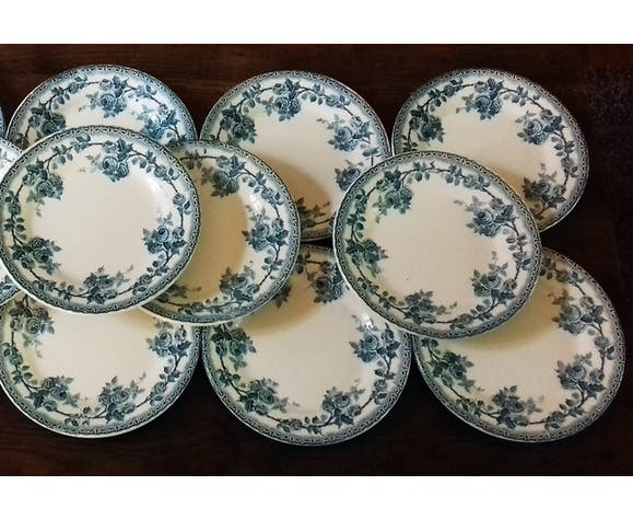 Dessert service 10 plates, 1 round dish, Iron Land Choisy the Blue King