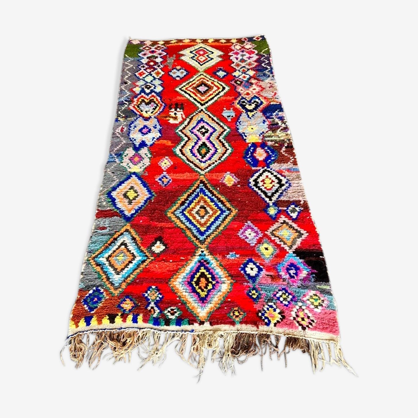 Tapis Berbere Marocain Boucherouite Vintage 155x330 Cm Tissu